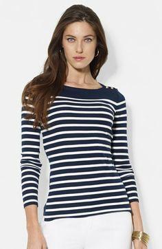 Lauren Ralph Lauren Mixed Stripe Boatneck Top available at #Nordstrom