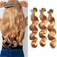 Honig Blonde Brasilianische Haarwebart Bundles 27 Blonde Brasilianische Reine haar Körperwelle 3 Stücke Blonde Menschenhaar Bündelt Blonde weben