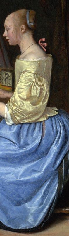 Jan Steen - A Young Woman playing a Harpsichord to a Young Man, detail