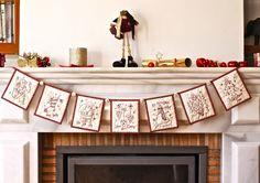 Christmas bunting - {a sewalong} Christmas Bunting, Handmade Christmas Decorations, Christmas Sewing, Christmas Embroidery, Christmas Cross, Holiday Ornaments, Hand Embroidery, Christmas Patchwork, Vintage Embroidery