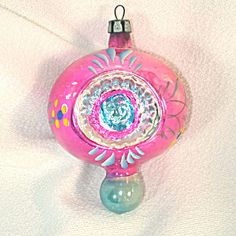Pink Flower Double Indent Fancy Poland Finial Christmas Ornament. Click on the image for more information.