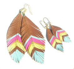 Mother Daughter Leather Feather Earring Set  Spring by sugarshoppe,