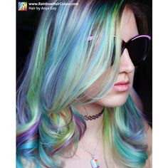 Opal Hair The Latest Pastel Rainbow Hair Trend ❤ liked on Polyvore featuring accessories and hair accessories