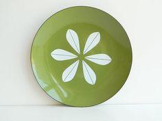 Large Cathrineholm olive green enamel lotus plate by MonkiVintage, $108.00