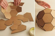 Cardboard Sculpture, Cardboard Furniture, Cardboard Crafts, Paper Crafts, Karton Design, Geodesic Dome Kit, Diy And Crafts, Arts And Crafts, Cardboard Design