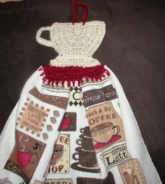 crochet coffee cup tea towel topper made by me