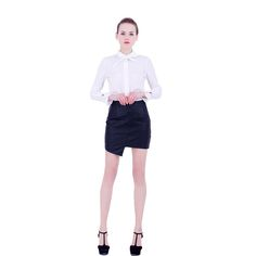 GCAROL Women Asymmetric Length Faux Leather Skirt Split Sexy OL Office Elegant Skirt High Quality Bud Skirt For 4 Season