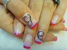Shades of pink butterfly nail design. Butterfly Nail Designs, Colorful Nail Designs, Pink Butterfly, Gorgeous Nails, Pretty Nails, Les Nails, Super Cute Nails, Nail Candy, Silver Nails
