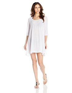ec5b539b24 J VALDI Womens Rib Onionskin 34Sleeve Tunic Cover Up White Medium --  Continue to the