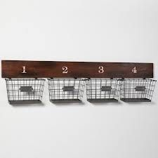 Wood And Wire Wall Multi Basket at Pottery Barn Teen - Storage Baskets - Organization Containers - Storage Bins Wall Mounted Wire Baskets, Wire Wall Basket, Wall Basket Storage, Basket Shelves, Baskets On Wall, Hanging Baskets, Storage Bins, Hanging Wire, Storage Ideas