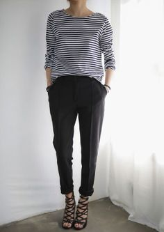 This style Pant but in navy or a pattern/stripe.. with a plain coloured top not stripe