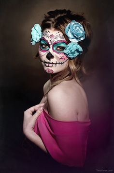 Sugar skull makeup. Day of the Dead Celebration. Mexican Tradition.