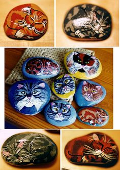 I used to make these when I was a kid! ~ST  Painted Stones - Sleeping Cats / Faces by messy_beast, via Flickr.