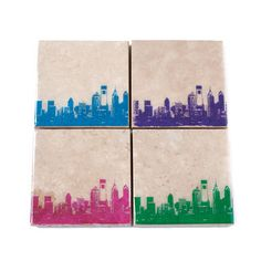 Philadelphia Skyline Coaster Set (Pink, Blue, Green, Purple) 4 Stone Coasters, Philly Cityscape Home Decor, Modern Art, Handmade Gift