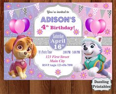 PAW PATROL Girl Birthday Party Invitation Skye Everest Digital Invite Printable…