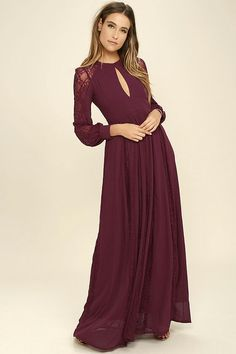 312a2663a81 Celebrate your timeless beauty in The Greatest Burgundy Lace Maxi Dress!  Stunning floral lace overlays a princess seamed bodice with a backless  design and ...