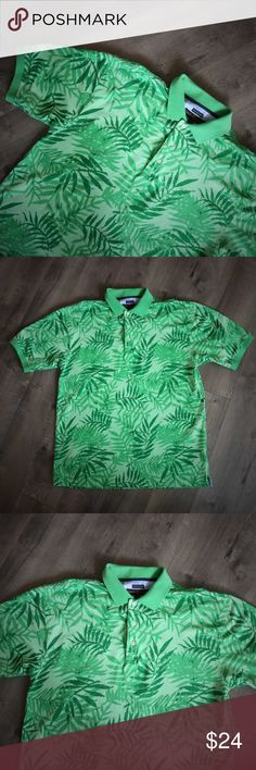 """Tommy Hilfiger Hawaiian Polo Fern Leaf Print L Such a great color of green on this Tommy Hilfiger hawaiian print polo. Perfect for your summer luau! Green plant leaf, looks like a fern to me, print. Comfort dry, cotton nylon blend. This one is getting close to vintage and is from the 2004 line, but has barely been worn. It's in great condition, and ready for the warm weather! Size L.  Shoulder to shoulder: 23"""" Chest: 48"""" Length down center back: 31.5""""  Thanks for visiting!    4 Tommy…"""