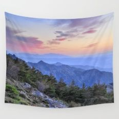 Alayos mountains at sunset Wall Tapestry