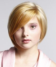 short hairstyles for fat faces with bangs