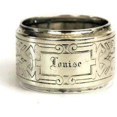 French Antique Silver Napkin Ring with Personalized Engraving Louise. ($95) ❤ liked on Polyvore featuring home, kitchen & dining, napkin rings, antique silver napkin rings, personalized napkin rings and engraved napkin rings