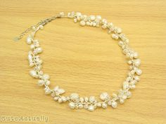 White freshwater pearl necklace with crystal on silk thread, Bridal necklace, Wedding jewelry. $19.00, via Etsy.
