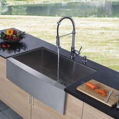 Vigo delivers top quality and unique design with the fine detailing of this stainless steel farmhouse sink, chrome faucet and dispenser set. This kitchen faucet and sink combo creates an instantly updated look. Kitchen Sink Decor, Kitchen Sink Design, Single Bowl Kitchen Sink, Farmhouse Sink Kitchen, Kitchen Sink Faucets, Modern Farmhouse Kitchens, New Kitchen, Kitchen Ideas, Kitchen Stuff