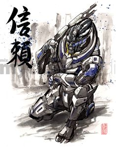 Now these are something. Japanese calligraphy mixed with Mass Effect for some very unique results. The calligraphy reads as follows: 勇: yū (courage) and 信頼: shinrai (trust). These awesome pieces were done by MyCK. I believe it's more than one artist. Regardless, great work! Check out their website for more stuff: re-mycks.com