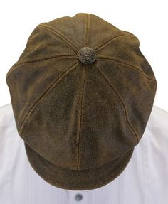 9725414c036 Boilerman Cap - Brown Antiqued Leather