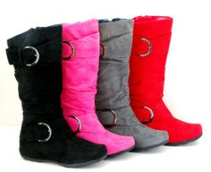 Oslo Tall Faux Suede Flat Boots Buckle Mid Calf Heel Fashion Winter Warm Women Shoes / $24.90 per pair at Amazon. I want the pink and black ones!