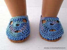American Girl Variegated Blue Crocheted Shoes by SweetPeaFashions, $8.50