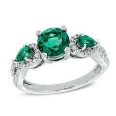 7.0mm Lab-Created Emerald and 0.15 CT. T.W. Diamond Ring in Sterling Silver  - Peoples Jewellers