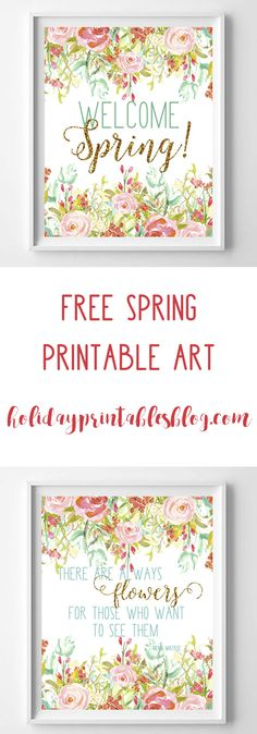 These spring printables are the perfect wall or mantle decor. In shades of aqua, pink, green and gold glitter! Free Printable Art, Free Printables, Easter Printables, Welcome Spring, Subway Art, Copics, Easter Crafts, Easter Ideas, Spring Crafts