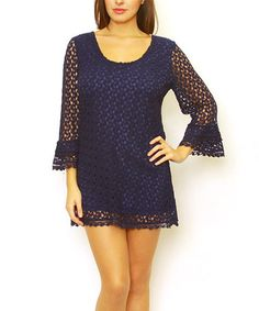 Look what I found on #zulily! Navy Crochet Bell-Sleeve Dress by Sand Studio #zulilyfinds