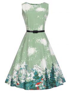 Sleeveless Printed A Line Vintage Dress