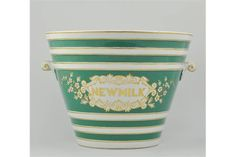 Green banded New Milk pail Milk Pail, Planter Pots, Dairy, China, Display, Pure Products, Antiques, Green, Floor Space