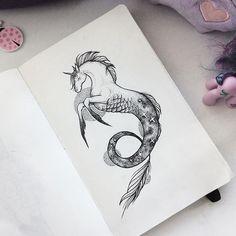 Unicorn x Hippocampus #Art #Dotwork #Blackwork #Sketchtattoo #Sketch #Moleskine #Blxckink #Graphic #Ink ✨