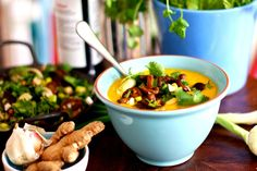 Mild Coconut Carrot Soup With Shiitake, Cilantro and Spring Onion [Vegan, Gluten-Free]
