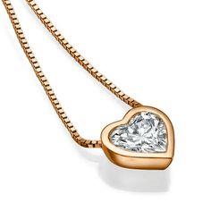 1/2 Carat Solitaire Heart Shape Necklace – 14k Rose Gold Bezel Set Diamond Pendant, 0.50ct Diamond Necklace, Etsy Jewelry, Etsy Gift Idea