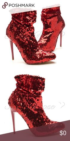 "❤️COMING SOON❤️ Red Sequin Booties ❤️COMING SOON❤️ These Red Sequin Booties are absolutely stunning! They are a darker, Burgundy red color, and will make you the center of attention wherever you. Perfect for a night out on the town with your girls or guy. Pair with one of my black dresses and some cool a accessories, and you've got yourself a rockin' outfit! These have a 4"" heel, but I've sold open-tie booties just like these, and surprisingly, they aren't difficult to walk in. Like or…"