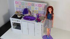 Fogão, Pia e Armário para Cozinha da Barbie DIY Usando Papelão