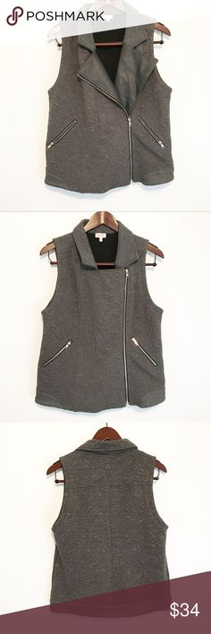 StitchFix x Pixley Dalilia Quilted Moto Vest Grey Gorgeous gray vest from Stitch Fix! Faux leather lapel/trim, quilted geometric/zig zag pattern. Does show a little wear, but as stunning as it is, no one will bat an eye at you! 😜 Pixley Jackets & Coats Vests