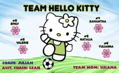 Team Hello Kitty digitally printed vinyl Soccer sports team banner. Made in the USA and shipped fast by Banners USA. http://www.bannersusa.com/art/templates_2/digital/banners/VBS_BB_banners.php