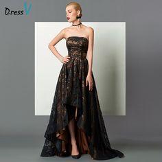 Cute High Low Strapless Lace A-Line Asymmetry Evening Dress - Cute Dresses Cheap Dresses Online, Evening Dresses Online, Lace Evening Dresses, Dress Online, Stunning Dresses, Beautiful Gowns, Cute Dresses, Vintage Dresses, Formal Gowns