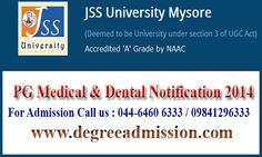 JSS University PG Medical & Dental Admissions & Counselling details - 2014