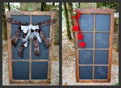 vintage window frame chalkboards