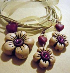parure simil thun collana e orecchini perle realizzate in fimo fimo