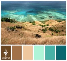 Teal, turquoise, aqua, Brown, Beige, Sand Stone - Color Inspiration Pallet