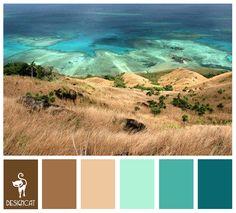 Sea Cliffs: Teal, Blue, Green, Pastel, turquoise, Brown, Beige, Sand, Stone - Colour Inspiration Pallet