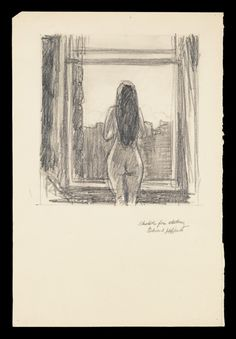 Edward Hopper Drawings, Female Nude by Window (Sketch for Etching), 1918.