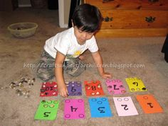 Number Boards- I love the idea of collecting shells at the beach or something similar and then theming this so the kiddos remember Helpping collect them!